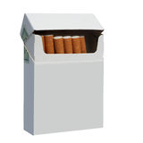 Pack of cigarettes. Opened pack of cigarettes, isolated on white, with a clipping path Stock Photos