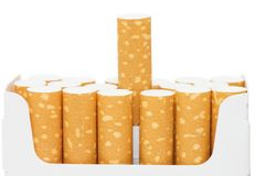 Pack of cigarettes with cigarettes sticking out Royalty Free Stock Photos