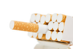 Pack of cigarettes with cigarettes sticking out Stock Photo