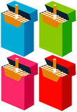 Pack of cigarettes. Colorful packs of cigarettes with one sticking out Stock Photos