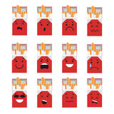 Pack of cigarettes creative cartoon style smiles with different emotions. Vector, illustration in flat style  on. White background EPS10 Royalty Free Stock Images