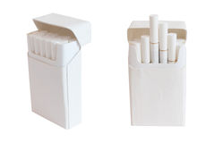 Pack of cigarettes with filter white color isolated on white Stock Photos