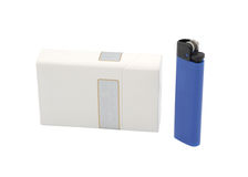 Pack of cigarettes and lighter. Isolated object Royalty Free Stock Photo