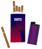 Pack of cigarettes with a lighter Stock Photos
