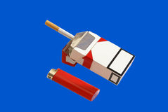 Pack of cigarettes and lighter Stock Photo