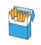 Pack of cigarettes. Sketch of the cigarettes pack on white background, isolated Royalty Free Stock Photo