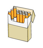 Pack of cigarettes. Sketch of the cigarettes pack on white background, isolated Royalty Free Stock Image