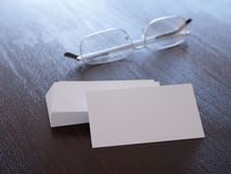 Pack of clear corporate identity business cards Stock Photo