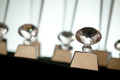 Pack of clear crystal glass trophy award winner Stock Photo