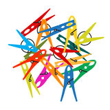 Pack of Clothes Peg. Vector. On white background Royalty Free Stock Images
