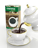 Pack of coffee and teapot Royalty Free Stock Photo