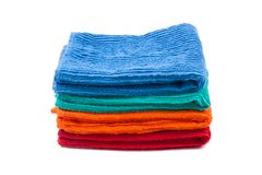 Pack of color towels. Isolated Royalty Free Stock Photos
