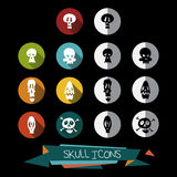 Pack of colorful and black and white skull icons Royalty Free Stock Photography