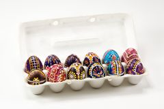 A pack of colourful traditionally painted Sorbian Easter egg. For Easter custom Royalty Free Stock Photo