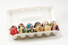 A pack of colourful traditionally painted Sorbian Easter egg. For Easter custom Stock Photography