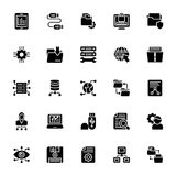 Data Management Glyph Icons. The pack comprises of elements from data management concept. The glyph icons in the set symbolize data organization and management Royalty Free Stock Photos