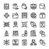 Data Management Line Icons. The pack comprises of elements from data management concept. The line icons in the set symbolize data organization and management to Royalty Free Stock Photography
