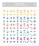 Flat vector icons arrows - colorful. This pack contains 100 colorful icons uniqe and modern of Directions Arrows that you can use in your designs.nn-100% .nn vector illustration