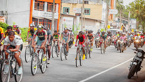 Pack of Cyclists in a Bicycle Race in Sri Lanka Royalty Free Stock Images