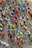 Pack of the cyclists ride during the Tour of Catalonia Royalty Free Stock Image