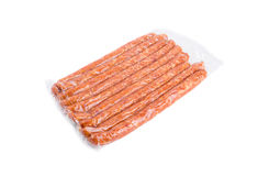 Pack of delicious smoked chicken sausages. Royalty Free Stock Image