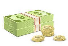 Pack of dollars and coins Stock Images