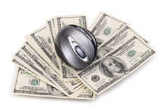 Pack of dollars and computer mouse. Isolated on a white background Stock Image