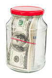 Pack of dollars in a glass jar Stock Photography