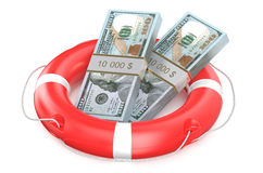 Pack of dollars on lifebuoy Royalty Free Stock Photography