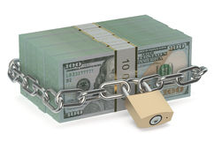Pack of dollars with lock and chain. Isolated on white background Stock Photo