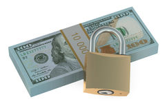 Pack of dollars with lock Stock Photography