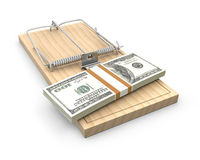 Pack of dollars on a mouse trap Stock Image