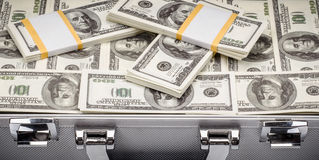 Pack of dollars in an open safe. Clous-up Stock Photos
