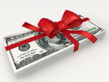 Pack of dollars. Tied  a red ribbon with a bow Royalty Free Stock Image