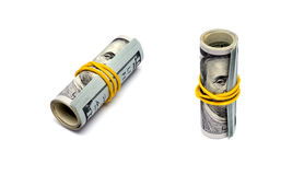 Pack of dollars is twisted into a roll Stock Photography
