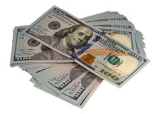 Pack of dollars. On a white background stock images