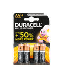 4 pack Duracell power plus AA batteries. White background. WREXHAM, UK - MARCH 31, 2017: Pack of four Duracell Plus Power AA batteries with up to 50% more power royalty free stock photos