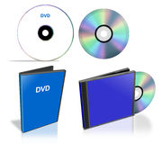 Pack of DVD disks and case Stock Images
