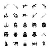 Star wars glyph icons. The pack is embedded with the icons i e not just best fit for star war buffs but for those interested in comical adventure, fighting games stock illustration
