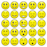 Pack of emoticons with various emotions expression