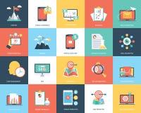 Digital Marketing Flat Vector Illustration Set. This pack encloses a wide range of digital marketing illustrations like internet marketing, content management Royalty Free Stock Photos