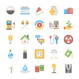 Flat Power and Energy Icons Set. This pack of energy and power flat icons is extremely useful and it contains power, energy, electricity, ecology, solar power Royalty Free Stock Photo