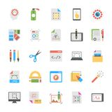Art and Design Flat Icons Set. The pack is enriched with the collection of art and design symbols. Each symbol has an idea and concept to present related to not Stock Photography