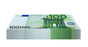 Pack of 100 Euro Banknotes. Isolated on white background Stock Photos