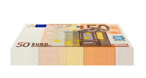 Pack of 50 Euro Banknotes. Isolated on white background Royalty Free Stock Images