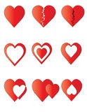 Pack of figures of hearts. Pack of figures of red hearts on isolated background Royalty Free Stock Image