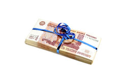 Pack of five thousandth Russian rubles, tied a blue ribbon Royalty Free Stock Photo
