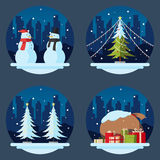 Pack of flat design christmas decorations Royalty Free Stock Image