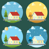 Pack of flat design four seasons Stock Photography