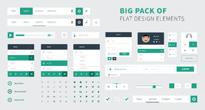 Pack of Flat design ui kit vector for webdesign Royalty Free Stock Photos